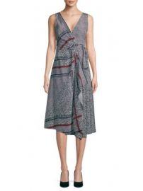 Derek Lam 10 Crosby - Printed Pleated Wrap Silk Dress at Saks Off 5th