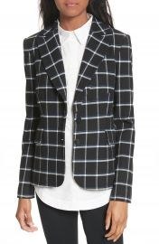 Derek Lam 10 Crosby Elbow Patch Plaid Blazer at Nordstrom