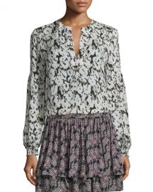 Derek Lam 10 Crosby Long-Sleeve Floral Silk Blouse at Neiman Marcus