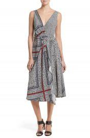 Derek Lam 10 Crosby Print Pleated Silk Wrap Dress at Nordstrom