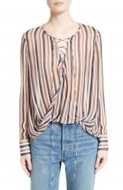 Derek Lam 10 Crosby Stripe Silk Lace-Up Top at Nordstrom