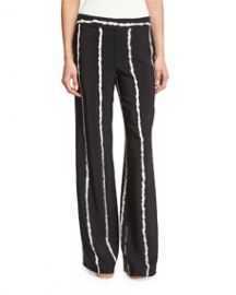 Derek Lam 10 Crosby Striped Silk Wide-Leg Trousers  Black at Neiman Marcus