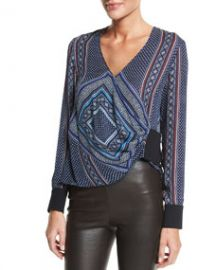 Derek Lam 10 Crosby Wrap-Front Long-Sleeve Blouse at Neiman Marcus