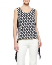Derek Lam Ikat Checked Fringe Top at Neiman Marcus