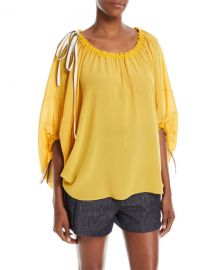 Derek Lam Scoop-Neck Balloon-Sleeve Silk Blouse with Drawstring at Neiman Marcus