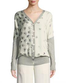 Derek Lam V-Neck Button-Front Mixed-Print Silk-Cotton Cardigan at Neiman Marcus