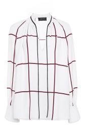 Derek Lam Windowpane Print Tie Front Blouse at Moda Operandi