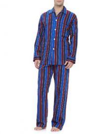 Derek Rose Multi-Stripe Mens Pajamas BlueBurgundy at Neiman Marcus