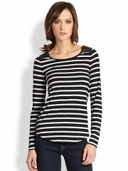 Design History - Faux Leather-Paneled Striped Stretch Jersey Top at Saks Fifth Avenue
