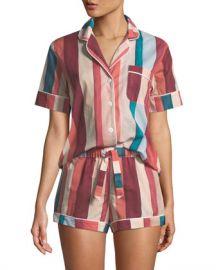 Desmond  amp  Dempsey Striped Shorty Pajama Set at Neiman Marcus