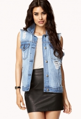 Destroyed Denim Vest at Forever 21