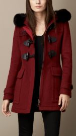 Detachable Fur Trim Fitted Duffle Coat at Burberry
