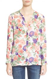 Devitri Collarless Silk Floral Print Blouse at Nordstrom Rack
