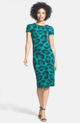 Dex Back Cutout Animal Print Stretch Knit Dress at Nordstrom