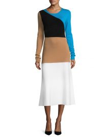 Diane von Furstenberg Crewneck Long-Sleeve Flare Knit Midi Dress at Neiman Marcus