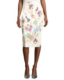 Diane von Furstenberg Floral Leather Midi Pencil Skirt at Neiman Marcus