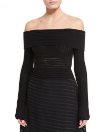 Diane von Furstenberg Long-Sleeve Off-the-Shoulder Knit Top at Neiman Marcus