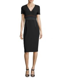 Diane von Furstenberg Short-Sleeve V-Neck Tailored Sheath Dress Topstitching at Neiman Marcus