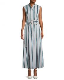 Diane von Furstenberg Striped Sleeveless Belted Maxi Dress at Neiman Marcus