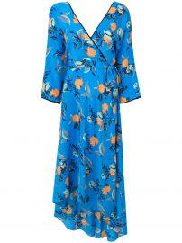 Diane Von Furstenberg Blue silk floral asymmetric wrap dress at Farfetch