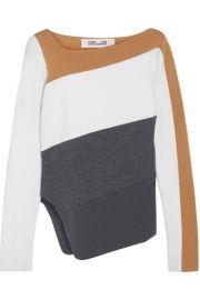 Diane von Furstenberg   Asymmetric color-block wool sweater at Net A Porter