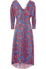 Diane von Furstenberg   Asymmetric printed silk crepe de chine midi wrap dress at Net A Porter