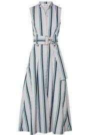 Diane von Furstenberg   Belted striped cotton midi dress at Net A Porter