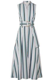 Diane von Furstenberg   Belted striped cotton midi dress at Net A Porter