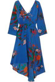 Diane von Furstenberg   Floral-print silk crepe de chine wrap dress at Net A Porter