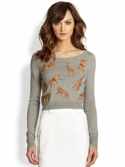 Diane von Furstenberg - Praia Leather Animal Applique Sweater at Saks Fifth Avenue