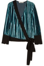 Diane von Furstenberg   Satin-trimmed devor  -velvet wrap blouse at Net A Porter