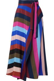 Diane von Furstenberg   Striped silk crepe de chine wrap midi skirt at Net A Porter