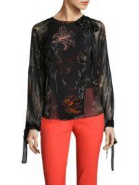 Diane von Furstenberg - Tie-Neck Slit Silk Blouse at Saks Fifth Avenue