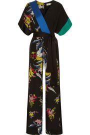 Diane von Furstenberg   Wrap-effect floral-print silk crepe de chine jumpsuit at Net A Porter