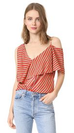 Diane von Furstenberg Asymmetrical Sleeve Ruffle Front Top at Shopbop