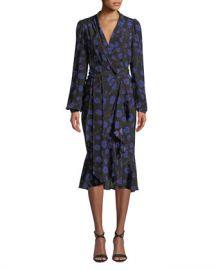 Diane von Furstenberg Carla Floral-Print Long-Sleeve Wrap Dress at Neiman Marcus