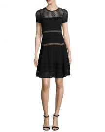 Diane von Furstenberg Celina Pointelle Party Dress  Black at Neiman Marcus