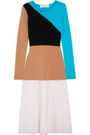 Diane von Furstenberg Color-block wool midi dress at Net A Porter