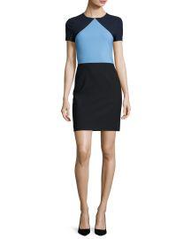 Diane von Furstenberg Colorblock Short-Sleeve Sheath Dress at Neiman Marcus
