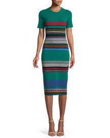 Diane von Furstenberg Crewneck Short-Sleeve Striped Knit at Neiman Marcus
