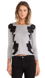 Diane von Furstenberg Doreen Floral Applique Pullover in Fog and Black  REVOLVE at Revolve