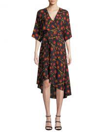Diane von Furstenberg Eloise Floral-Print Asymmetrical Wrap Dress at Neiman Marcus