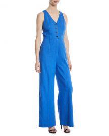Diane von Furstenberg Fitted Button-Front Linen-Stretch Jumpsuit at Neiman Marcus