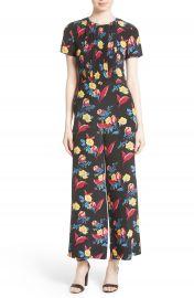 Diane von Furstenberg Floral Crop Silk Jumpsuit at Nordstrom