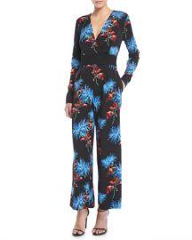 Diane von Furstenberg Floral-Print Crossover Crepe Jumpsuit at Neiman Marcus