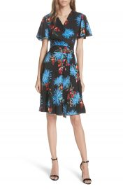 Diane von Furstenberg Flutter Sleeve Silk Wrap Dress at Nordstrom