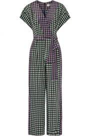 Diane von Furstenberg Gingham Silk Crepe de Chine Jumpsuit at Net A Porter