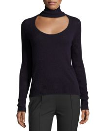 Diane von Furstenberg Gracey Cutout Turtleneck Sweater  Royal Navy at Neiman Marcus