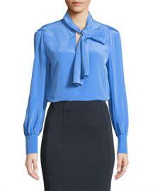 Diane von Furstenberg High Neck Long-Sleeve Silk Bow Blouse at Neiman Marcus