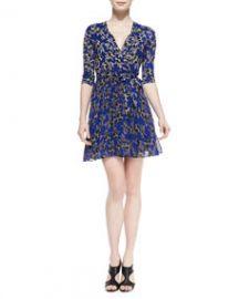 Diane von Furstenberg Irina Star-Print Wrap Dress at Neiman Marcus